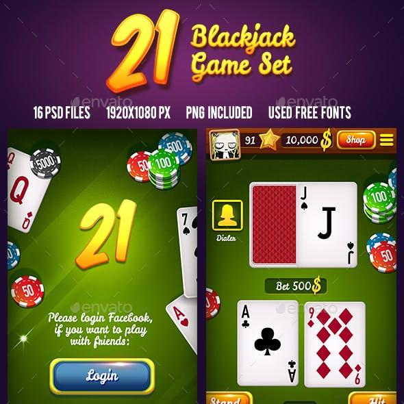 21 Blackjack Card Mobile Game Asset