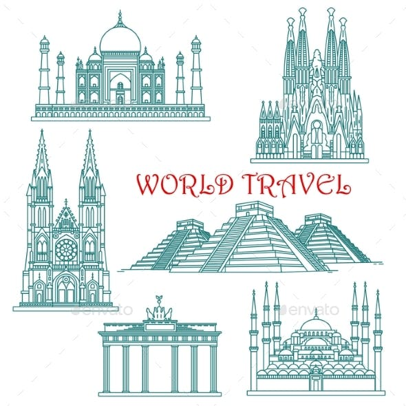 World Travel Landmarks Thin Line Icons