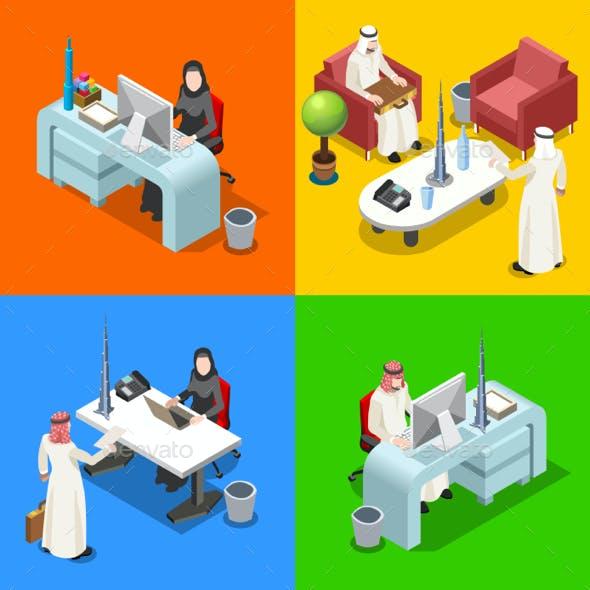 Arab Businessman Isometric People