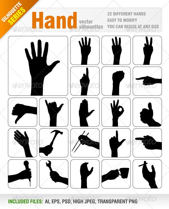Hand Silhouettes - People Characters