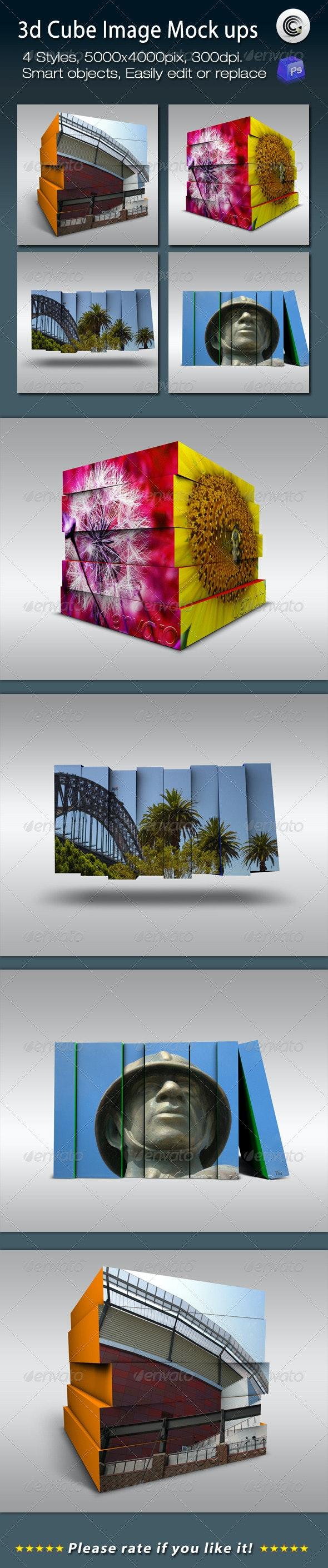 3D Cube Image Mock ups - Tech / Futuristic Photo Templates