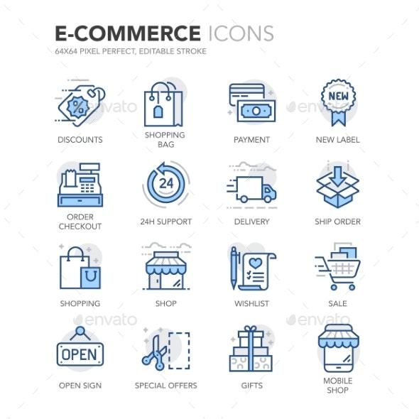 Blue Line E-Commerce Icons - Icons