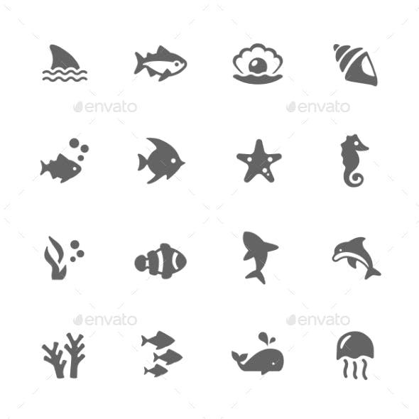 Simple Marine Life Icons