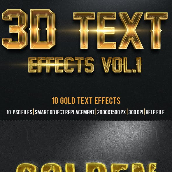 3D Gold Text Effects