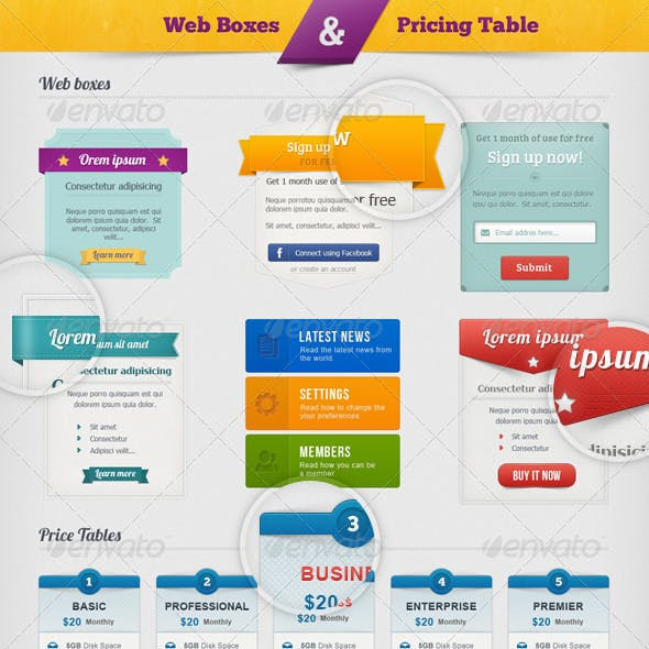 Web Boxes & Pricing Table