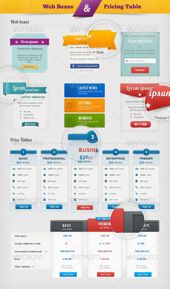 Web Boxes & Pricing Table - User Interfaces Web Elements