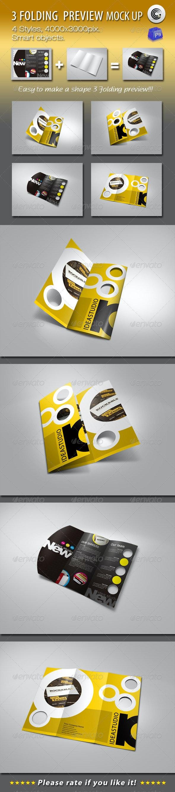 Shape 3 Folding Preview Mock-ups - Brochures Print