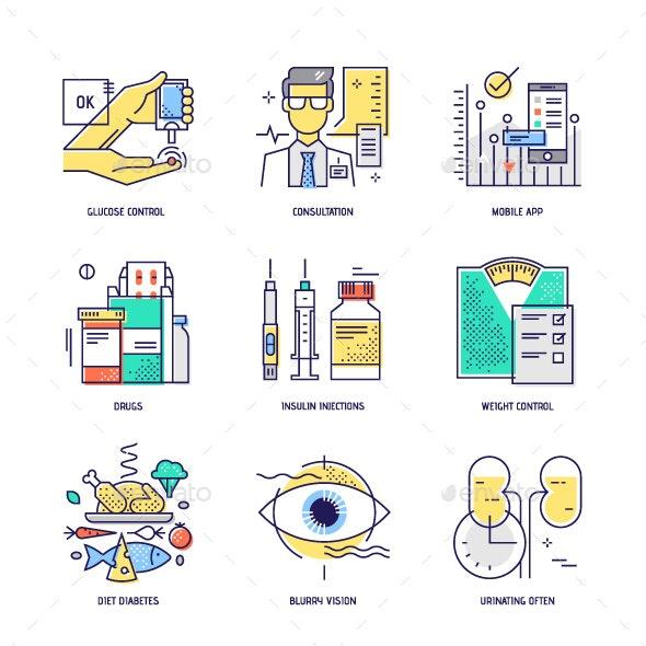 Diabetes Thin Line Icons Set - Health/Medicine Conceptual