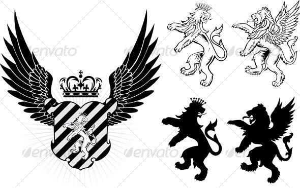 lion crest design - Animals Characters
