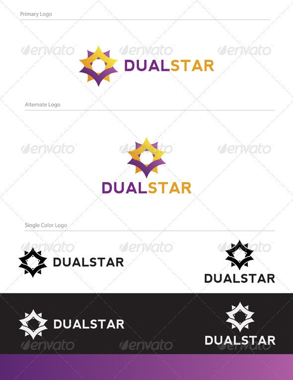 Dual Star Logo Design - ABS-016 - Vector Abstract