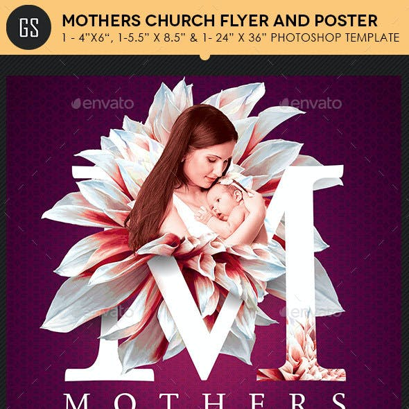 Mothers Day Church Flyer Poster Template