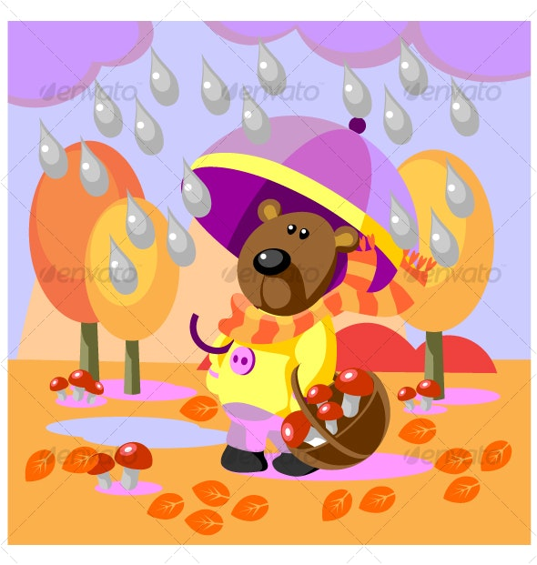 Bear walks with umbrella and collects mushrooms 18 - Animals Characters