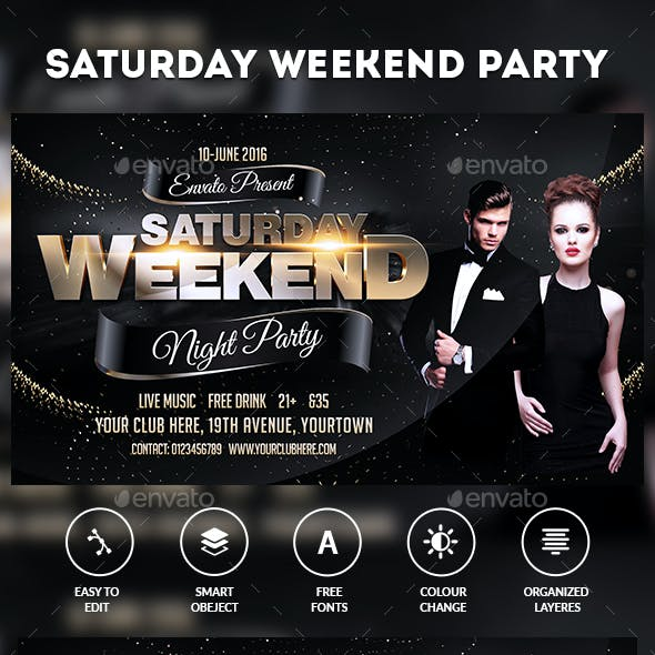 Weekend Saturdays Party Flyer