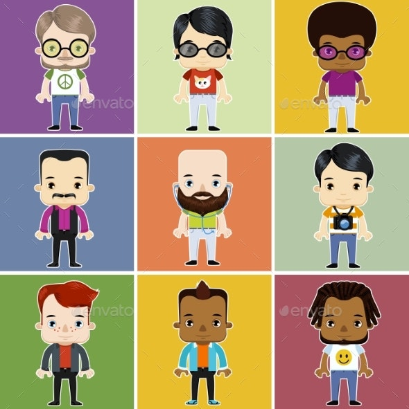 Male Hipster Avatar Set - People Characters