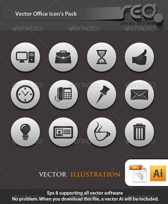 Office Business Icons Vector Pack 2 - Web Elements Vectors