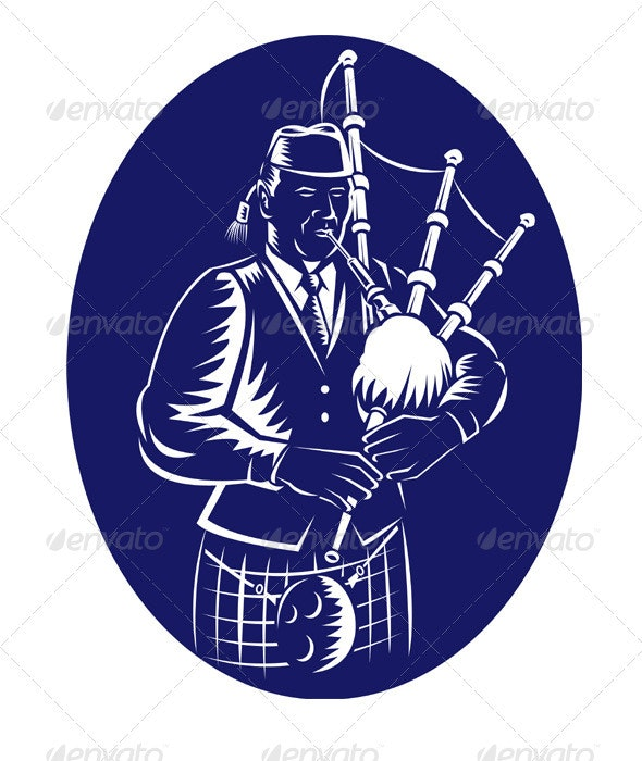 Scottish Bagpiper Playing Bagpipes Retro - People Characters