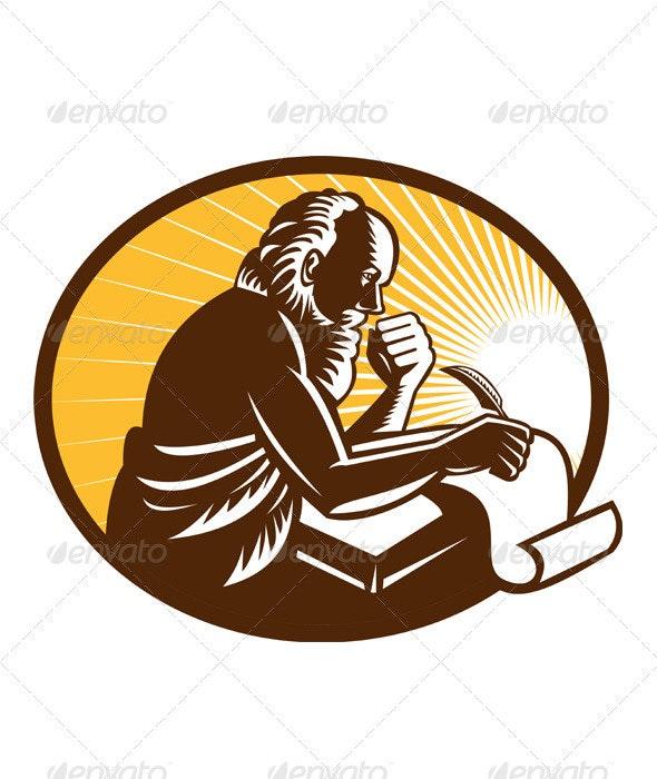 Saint Jerome Writing Scroll Retro Woodcut - People Characters