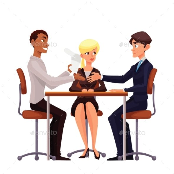 Business Discussion at a Table of Employees