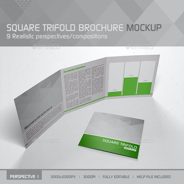Realistic Square Trifold Brochure Mockup