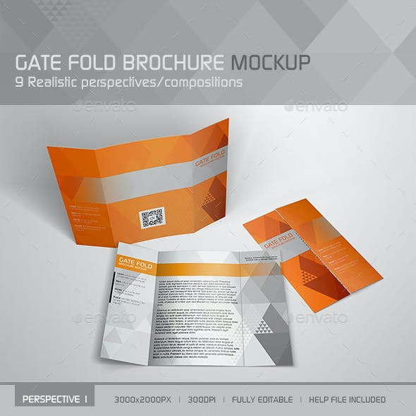 Realistic Gate Fold Brochure Mockup