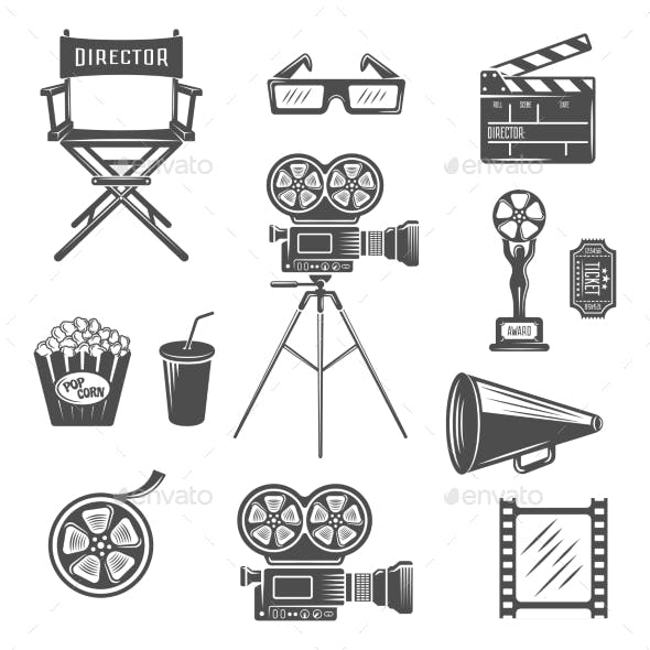 Cinema Black White Icons Set