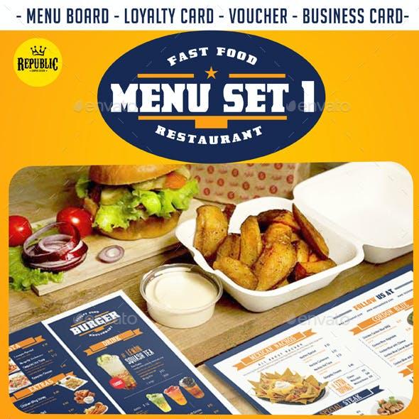 Fast Food Menu Set