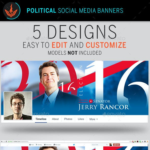 Political Election Social Media Banner Templates