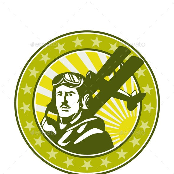 World War 1 Pilot Airman Spad Biplane Circle Retro