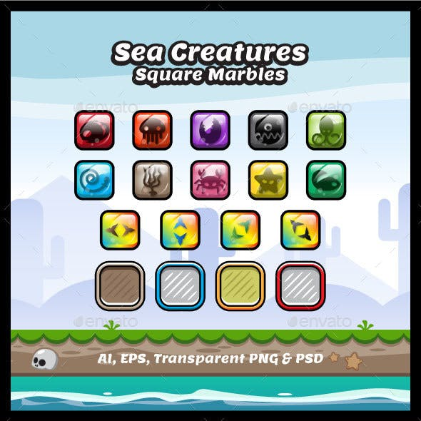 Sea Creature Square Marbles