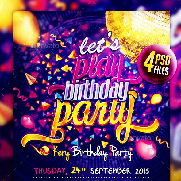 Lets Play Birthday Party V2 Flyer Template