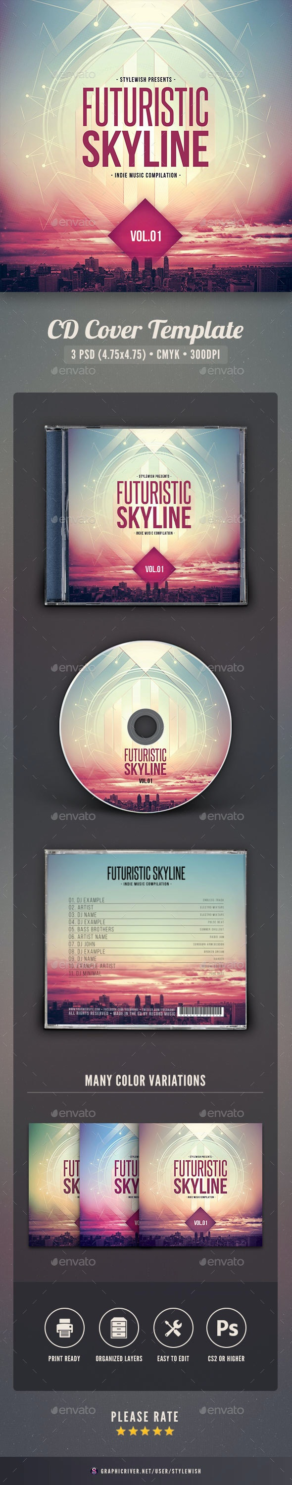Futuristic Skyline CD Cover Artwork - CD & DVD Artwork Print Templates