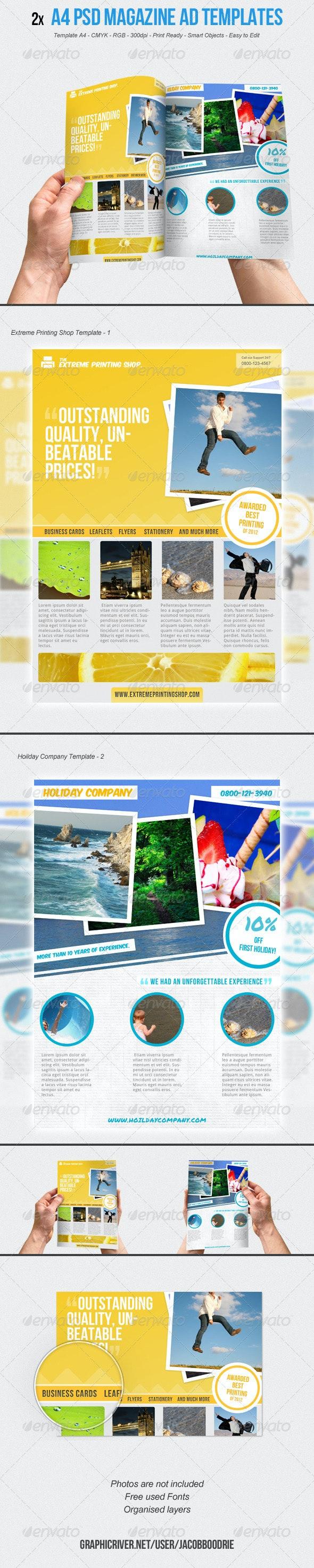 2x A4 Magazine Ad Template Vol.1  - Magazines Print Templates