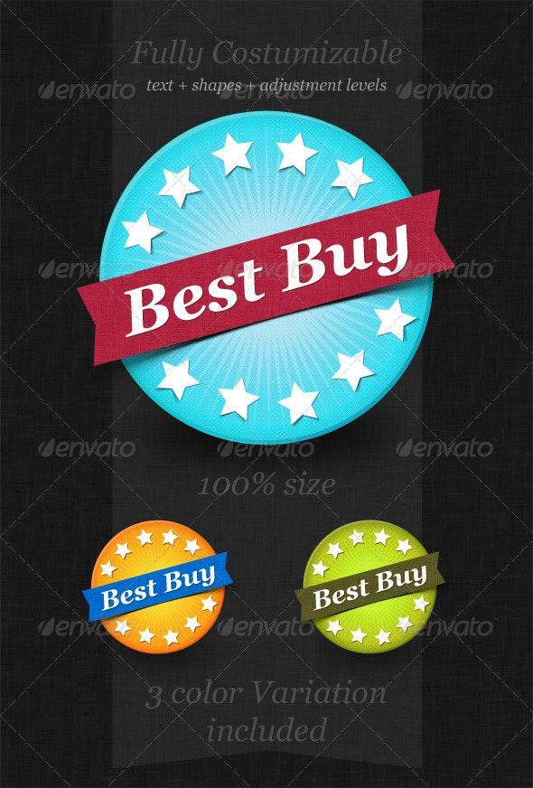 3 Best Buy Badges Kit - Badges & Stickers Web Elements