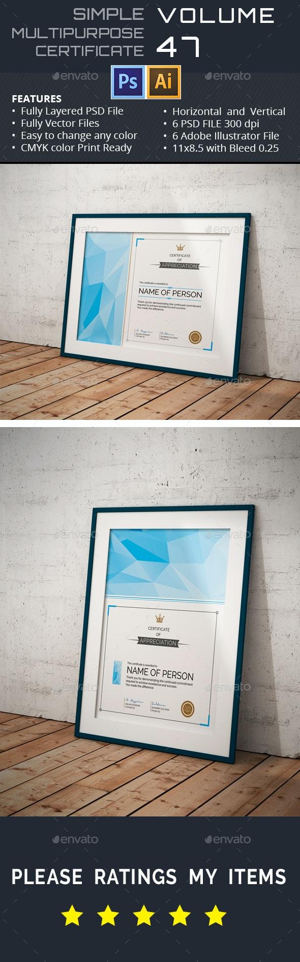 Simple Multipurpose Certificate GD047 - Certificates Stationery