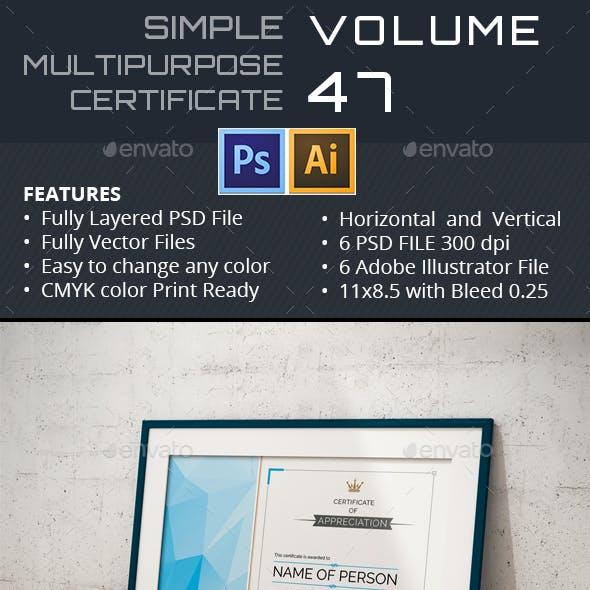 Simple Multipurpose Certificate GD047