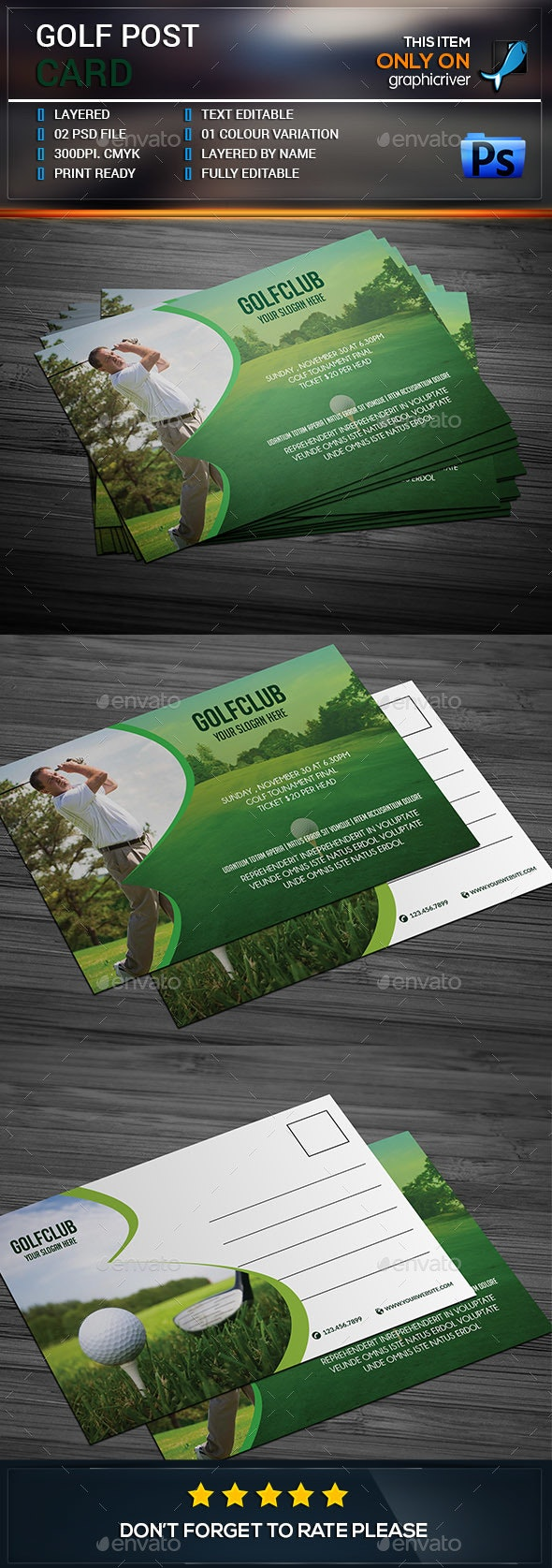 Golf post card. - Cards & Invites Print Templates