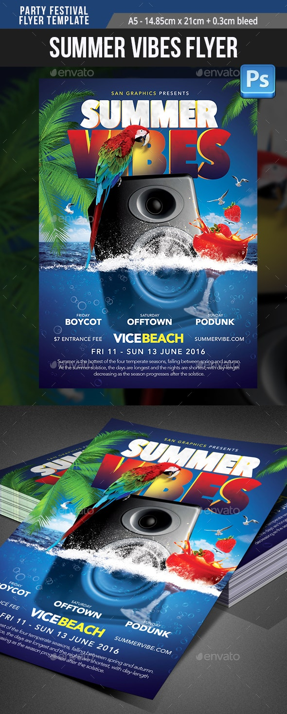 Summer Spring Break Festival Party Flyer Template  - Clubs & Parties Events