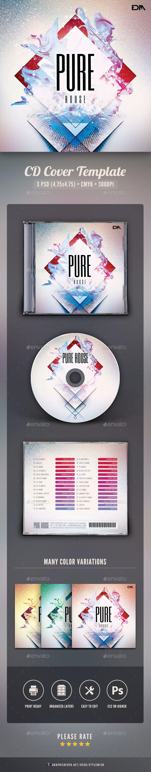 Pure House CD Cover Artwork - CD & DVD Artwork Print Templates