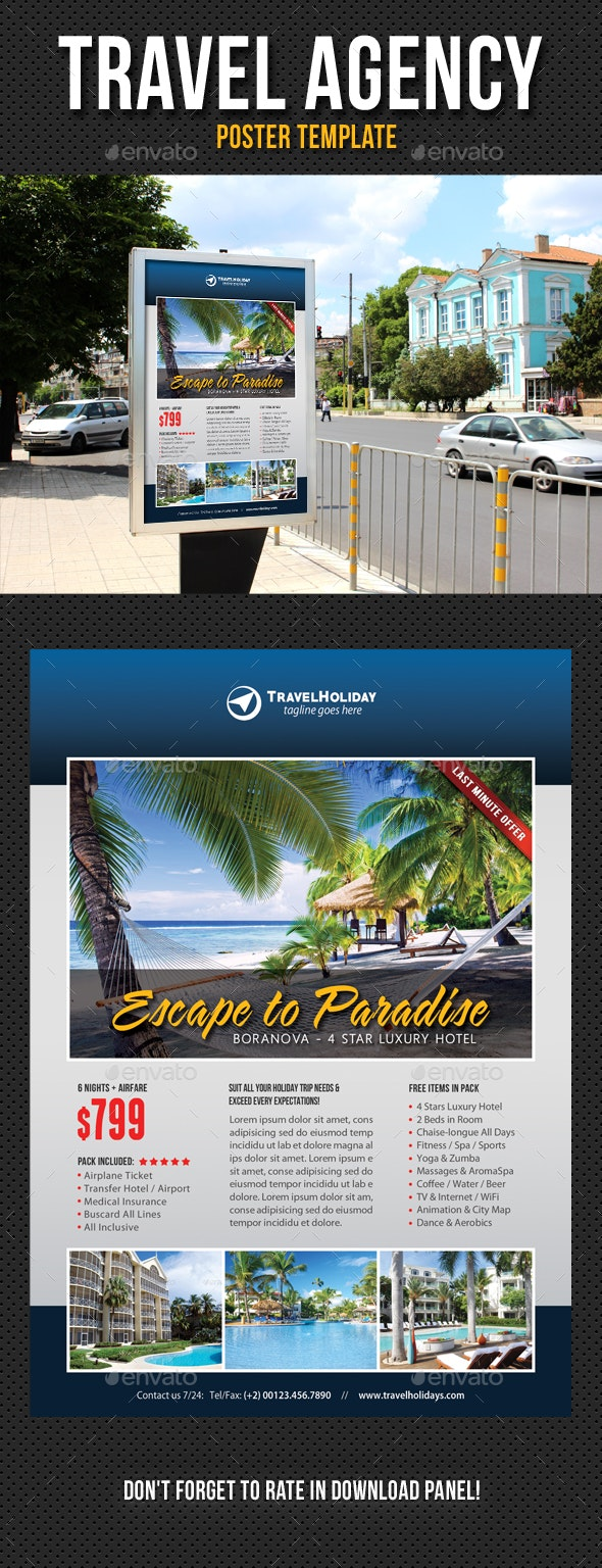 Travel Agency Poster Template V06 - Signage Print Templates