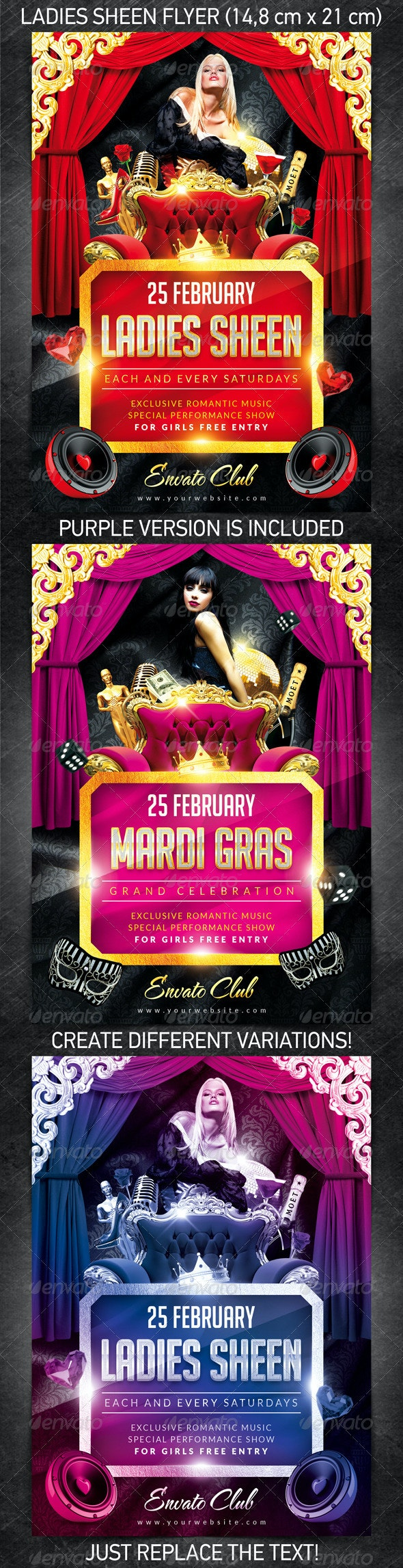 Ladies Sheen Flyer - Clubs & Parties Events