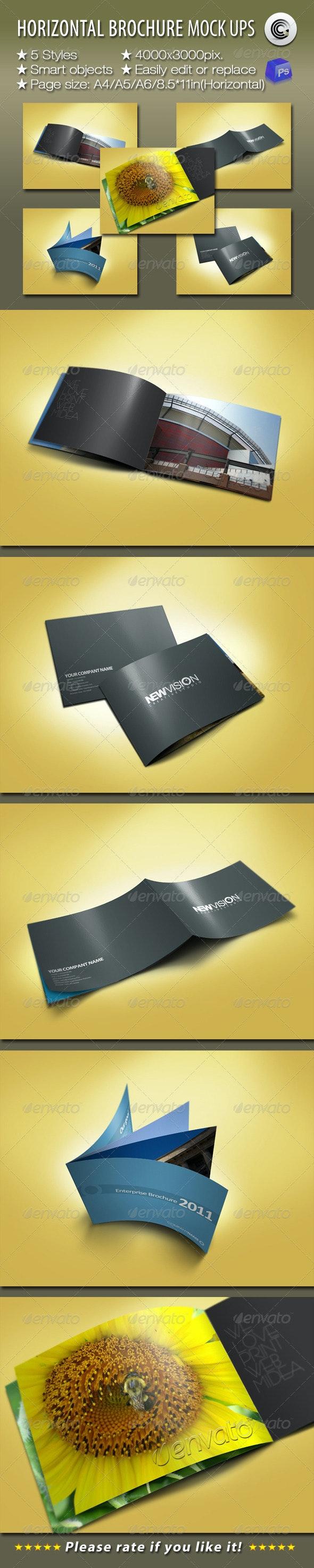 Horizontal Brochures Preview Mock-ups - Brochures Print