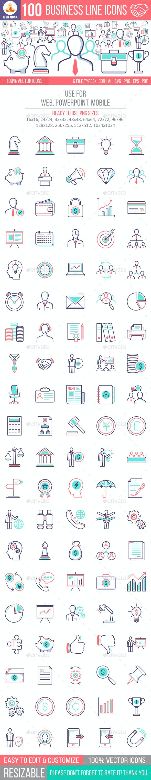 100 Business Line Icons - Business Icons