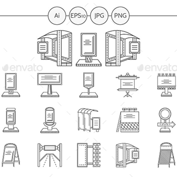 Outdoors advertising elements black line vector icons