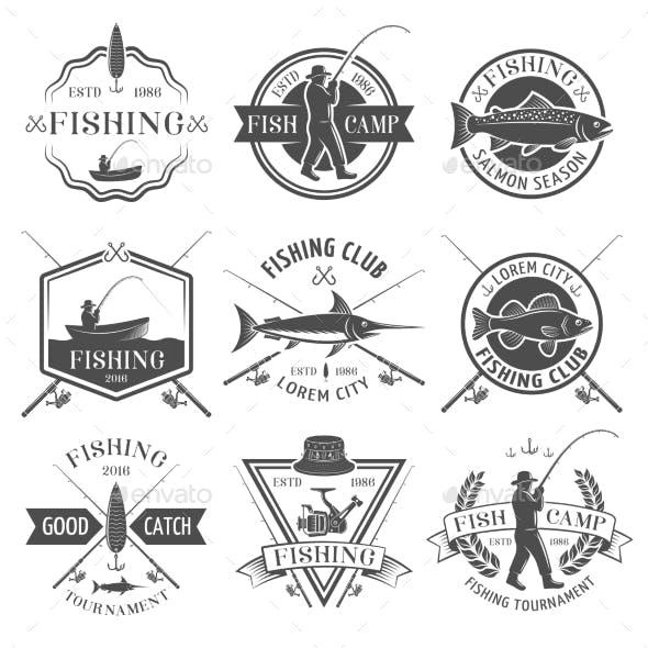 Fishing Club Black White Emblems Set