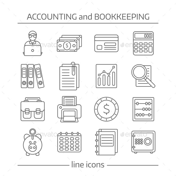 Accaunting Bookkeeping Flat Line Icons Set