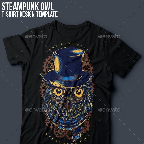 Steampunk Owl T-Shirt Design