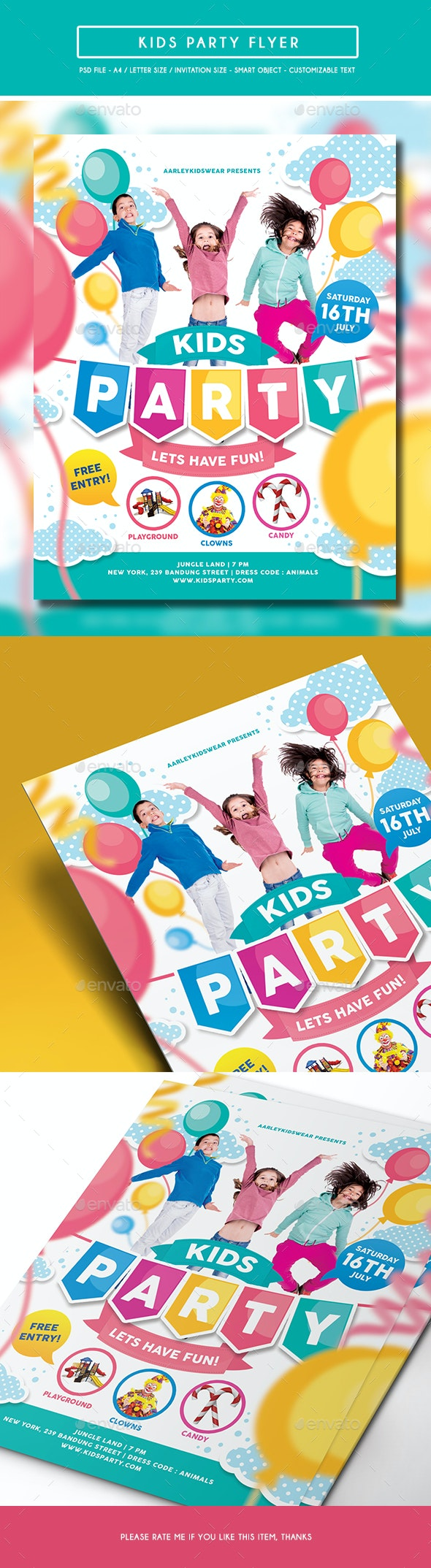 Kids Party Flyer / Invitation - Clubs & Parties Events