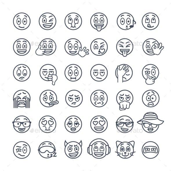 Thin Line Emoji Emoticons Smiley Face Emotions Icons Set