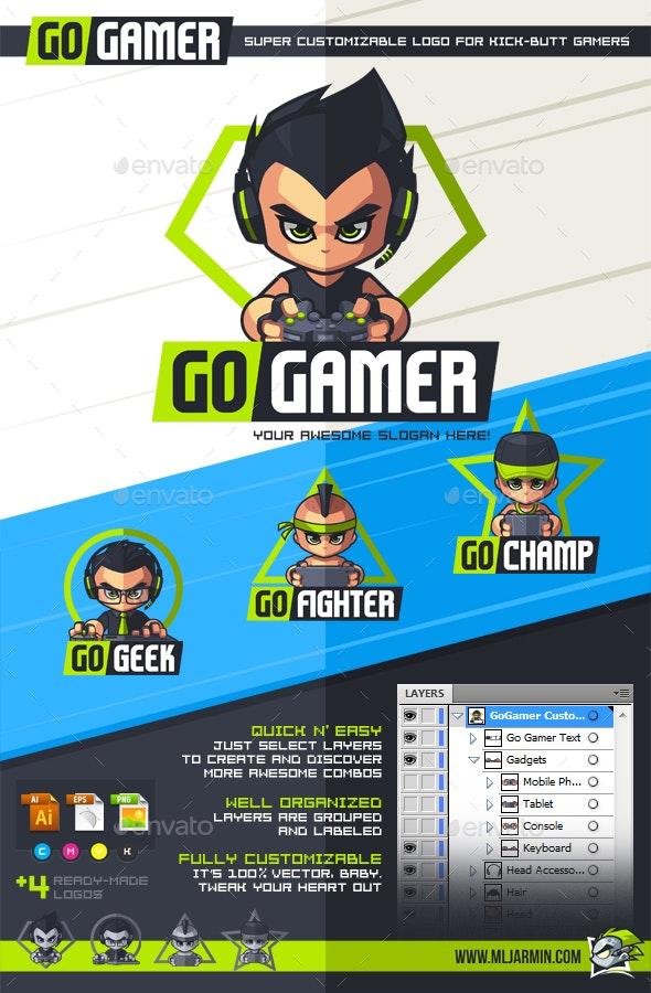 GoGamer - Customizable Logo - Humans Logo Templates