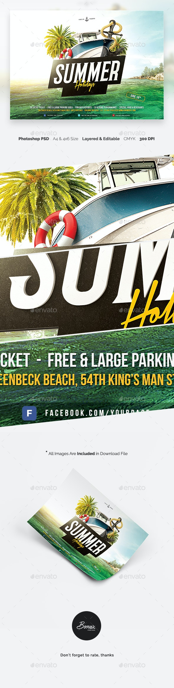 Summer Holidays Flyer Template - Holidays Events